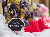 愉快的母亲` s天概念 木标记与愉快的母亲` S天t 免版税图库摄影