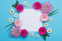 愉快的母亲` s天,妇女` s天,华伦泰` s天或生日淡色糖果上色背景 花卉舱内甲板位置贺卡 免版税库存图片