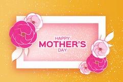 愉快的母亲` s天贺卡 桃红色淡色纸刻花 长方形框架 文本的空间 免版税库存图片