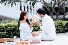 愉快的浪漫夫妇恋人谈的和饮用的酒,当有野餐在家时 免版税库存照片