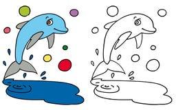 愉快的海豚跳的颜色和BW 图库摄影