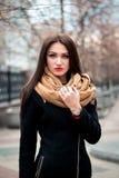年轻愉快的深色的女孩红色唇膏秋天时兴的画象户外在城市 库存图片