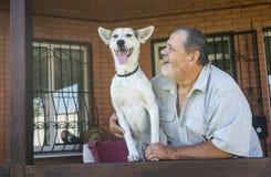 愉快的混杂的与它快活的有胡子的资深大师的品种白色狗画象  免版税库存照片