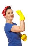 愉快的清洁女工拷贝空间 免版税库存图片