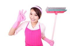 愉快的清洁女仆主妇 库存图片