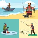 愉快的渔夫站立并且拿着有转动的手中与fishman旋转的钓鱼竿和鱼捕获,袋子和设备 免版税库存图片