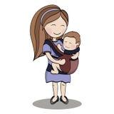 愉快的漫画人物,运载孩子的母亲 免版税库存照片