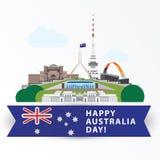 愉快的澳大利亚天, 1月26日 作为国家的标志的最伟大的地标 堪培拉 免版税库存图片