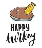 愉快的火鸡 手拉的向量例证 秋天颜色海报 有益于小块售票,海报,贺卡 免版税图库摄影
