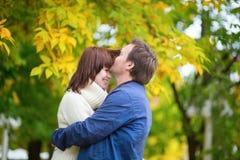 愉快的爱恋的夫妇户外在一秋天天 免版税图库摄影
