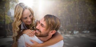 愉快的爱恋的夫妇的综合图象 免版税库存照片