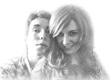 愉快的爱恋的夫妇铅笔图的模仿  免版税库存图片