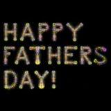 愉快的父亲节五颜六色的闪耀的烟花摆正黑色后面 免版税库存照片