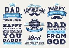 愉快的父亲节徽章商标传染媒介元素集 免版税库存图片