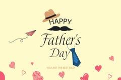 愉快的父亲节模板贺卡 您是最佳的爸爸 父亲节横幅,飞行物,邀请,祝贺或 库存图片