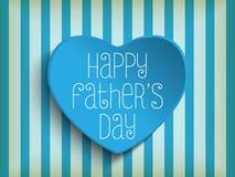 愉快的父亲节蓝色心脏背景 库存照片