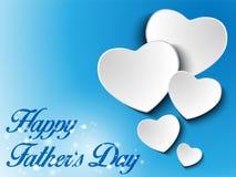 愉快的父亲节蓝色心脏背景 库存图片