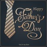 愉快的父亲节问候 封缄信片 导航与乱画领带、蝶形领结和玻璃的背景 免版税库存照片