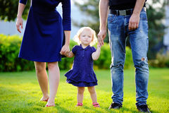 愉快的父母身分:有他们的甜小孩女孩的年轻父母在晴朗的公园 免版税库存照片