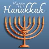 愉快的犹太光明节概念背景,动画片样式 库存例证