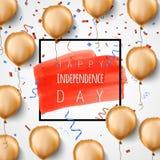 愉快的独立日美国 金箔气球和五彩纸屑 向量 庆祝背景为7月第4 时髦 免版税库存图片
