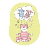 愉快的猫的妈妈和她的梦想关于小猫 免版税库存图片