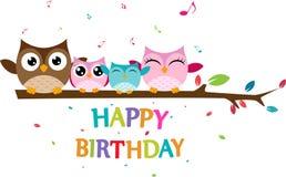 愉快的猫头鹰家庭庆祝生日 向量例证