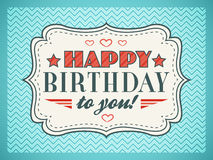 愉快的生日贺卡 印刷术在字体类型上写字 库存图片