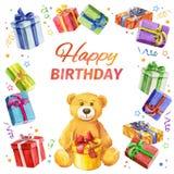 愉快的生日贺卡 礼物和玩具熊方形的框架  水彩 图库摄影