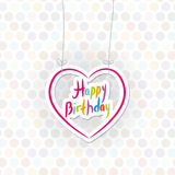 愉快的生日 在圆点背景的桃红色心脏 向量 免版税库存图片