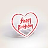 愉快的生日 在白色背景的红色纸心脏 向量 库存照片