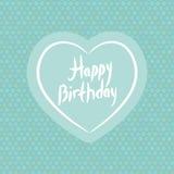 愉快的生日 在蓝色圆点背景的白色心脏 向量 免版税库存图片