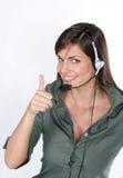 愉快的电话妇女 免版税库存图片