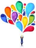 愉快的男孩力量头脑五颜六色的气球颜色水彩绘画 皇族释放例证
