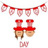 愉快的男孩和女孩有党帽子的 按钮加拿大日图标设置了 向量例证