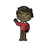 愉快的男孩挥动的动画片 免版税库存照片