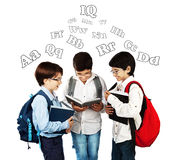 愉快的男小学生 免版税库存图片