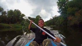 愉快的男性运动员有效地明轮船, gopro,慢动作 影视素材