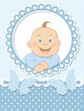 愉快的男婴剪贴薄蓝色框架 库存照片