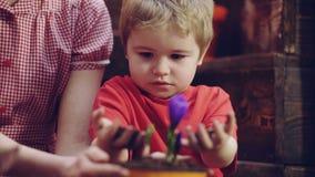愉快的白肤金发的男孩帮助种植幼木在父母在家 E r r o 股票视频