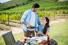 愉快的看的妇女,当倒在玻璃时的红葡萄酒 免版税库存照片