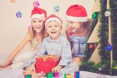 愉快的矮小的微笑的男孩和女孩有圣诞节帽子的 免版税库存照片