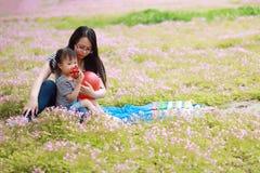 愉快的矮小的逗人喜爱的女婴微笑和戏剧迅速增加与母亲,妈妈讲故事给他的夏天公园愉快的家庭的女儿 免版税库存图片