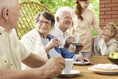 愉快的祖母和老人在庭院里 免版税库存图片