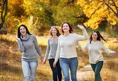 愉快的秋天步行在公园 免版税库存照片