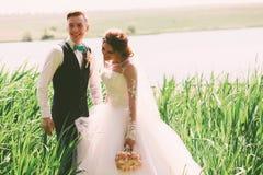 愉快的笑的新郎和新娘在池塘附近 免版税图库摄影