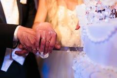 愉快的美丽的新婚佳偶裁减蛋糕在餐馆 免版税库存图片