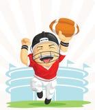 愉快的美国橄榄球运动员动画片  库存照片
