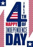 愉快的美国独立日垂直背景 7月4日 第四 传染媒介-纪念品 标志 爱国庆祝 免版税库存照片