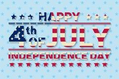 愉快的美国独立日背景模板 愉快第4 7月海报 愉快7月第4和美国国旗 爱国的横幅 Vecto 免版税图库摄影